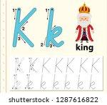 letter k tracing alphabet...   Shutterstock .eps vector #1287616822