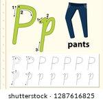 letter p tracing alphabet...   Shutterstock .eps vector #1287616825