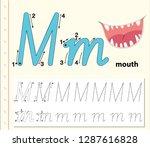 letter m tracing alphabet...   Shutterstock .eps vector #1287616828
