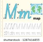 letter m tracing alphabet...   Shutterstock .eps vector #1287616855
