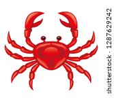 red crab icon on a white... | Shutterstock .eps vector #1287629242