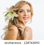 beautiful smiling woman with a... | Shutterstock . vector #128763092