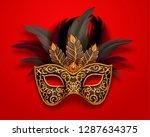 black carnival mask with... | Shutterstock .eps vector #1287634375