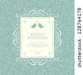 vector wedding card or... | Shutterstock .eps vector #128764178
