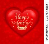 big 3d heart with valentine s... | Shutterstock .eps vector #1287645085