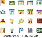 color flat icon set   schedule... | Shutterstock .eps vector #1287653935