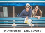 a couple of blogger tourists... | Shutterstock . vector #1287669058