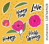 spring flowers sticker set with ... | Shutterstock .eps vector #1287669628