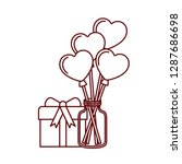 jar with hearts balloons and... | Shutterstock .eps vector #1287686698