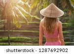 a back view of blond woman in... | Shutterstock . vector #1287692902
