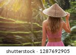 a back view of blond woman in... | Shutterstock . vector #1287692905