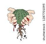 hands squeeze cactus  blood is... | Shutterstock .eps vector #1287701095