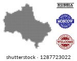 welcome collage of halftone map ... | Shutterstock .eps vector #1287723022