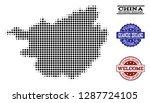 welcome combination of halftone ... | Shutterstock .eps vector #1287724105