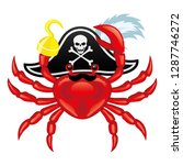 red crab pirate icon on white... | Shutterstock .eps vector #1287746272