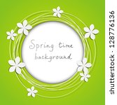 floral round frame with place... | Shutterstock .eps vector #128776136