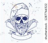 hand drawn sketch  color skull | Shutterstock .eps vector #1287766522