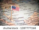 malaysia marked with a flag on... | Shutterstock . vector #1287777268