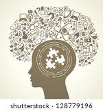 human head and science icons.... | Shutterstock .eps vector #128779196