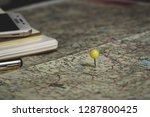 pin on travel map.  | Shutterstock . vector #1287800425