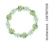 hand drawn tropical flower... | Shutterstock . vector #1287807028