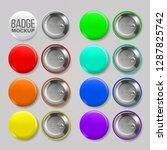 badge mockup set vector. pin... | Shutterstock .eps vector #1287825742