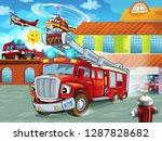 cartoon firetruck driving out... | Shutterstock . vector #1287828682