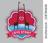 love story sticker badge | Shutterstock .eps vector #128784608