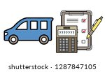 car and electronic calculator...   Shutterstock .eps vector #1287847105