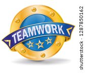button with teamwork for the...   Shutterstock .eps vector #1287850162