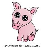 baby piglet | Shutterstock .eps vector #128786258