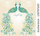 decorative peacock vector   Shutterstock .eps vector #128787605