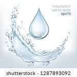 transparent vector water splash ... | Shutterstock .eps vector #1287893092