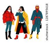 women's winter street style....   Shutterstock .eps vector #1287895618