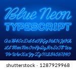 blue neon typescript. blue... | Shutterstock .eps vector #1287929968