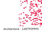 valentine day pink red hearts... | Shutterstock . vector #1287959995