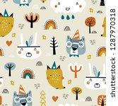 cute seamless childish pattern...   Shutterstock .eps vector #1287970318