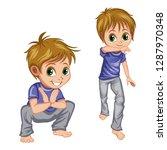 cartoon boy practice capoeira...   Shutterstock .eps vector #1287970348