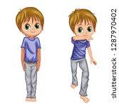 cartoon boy practice capoeira...   Shutterstock .eps vector #1287970402