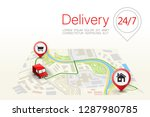 delivery navigation route  city ... | Shutterstock .eps vector #1287980785