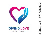 giving love logo  giving heart  ... | Shutterstock .eps vector #1287989095