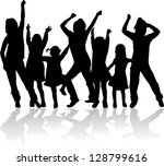 silhouettes of children | Shutterstock .eps vector #128799616