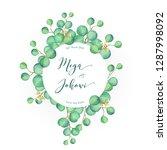 watercolor green eucalyptus... | Shutterstock .eps vector #1287998092