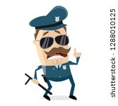 funny cartoon policeman with... | Shutterstock .eps vector #1288010125