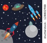 deep space and aliens | Shutterstock .eps vector #128802988