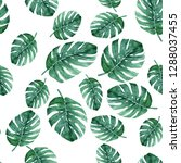 seamless pattern with monstera... | Shutterstock . vector #1288037455
