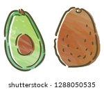 avocado with watercolor texture | Shutterstock .eps vector #1288050535