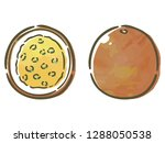passion fruit with watercolor... | Shutterstock .eps vector #1288050538