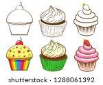 cupcake clipart bundle   Shutterstock .eps vector #1288061392