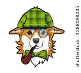 cool dog welsh corgi face with... | Shutterstock .eps vector #1288098235